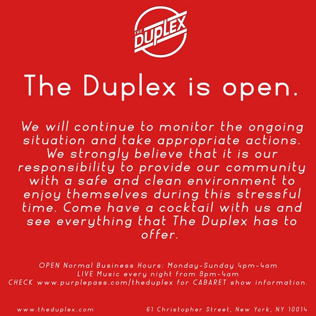 The Duplex is Open