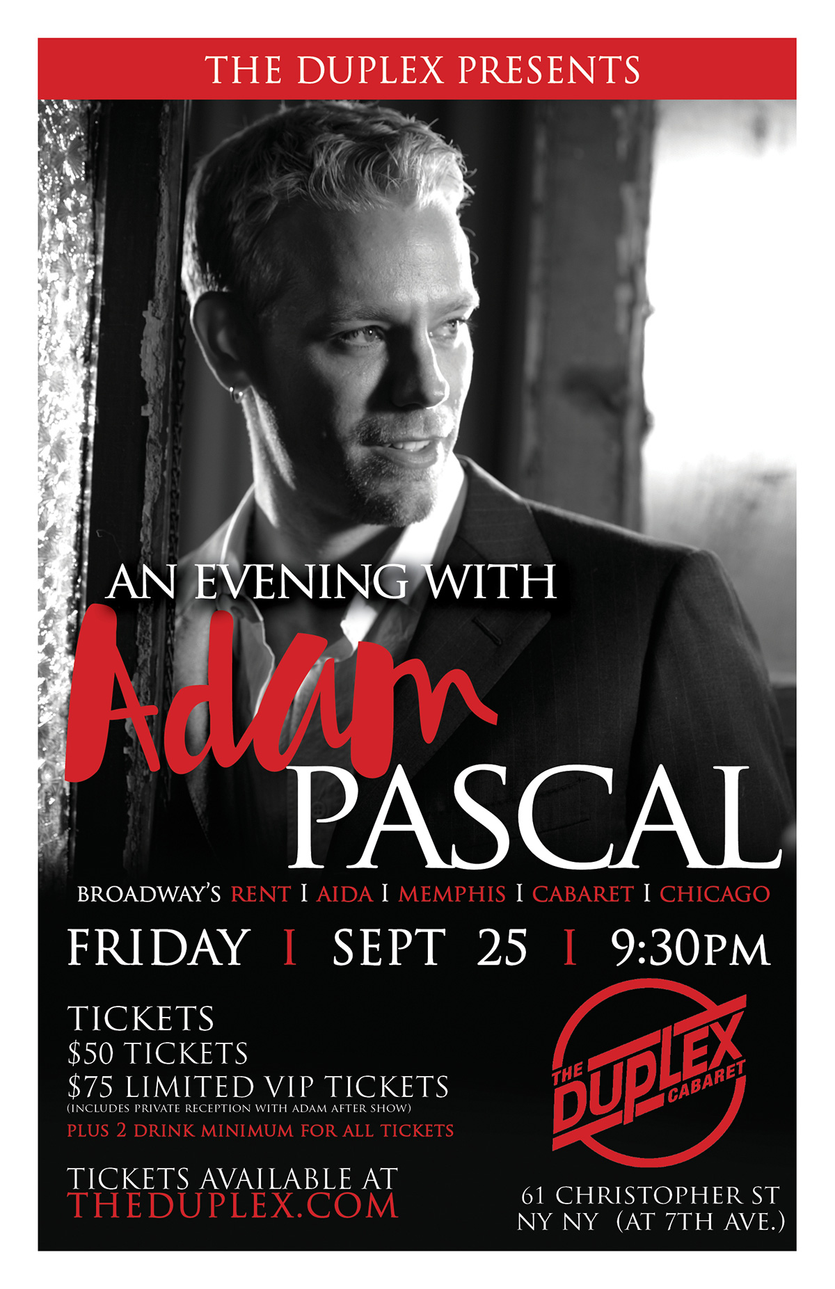 Duplex An Evening With Adam Pascal